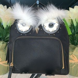 Kate Spade Owl Tomi Black Nylon Backpack